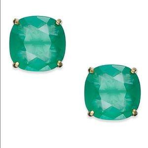 Kate Spade square stud earrings in Beryl green